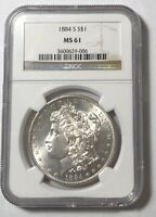 MORGAN SILVER DOLLAR 1884 S NGC MINT STATE 61