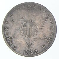 SILVER TRIME 1858 THREE CENT SILVER 3 CENT EARLY US COIN LO