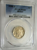 LOT OF ONE PCGS CERTIFIED MS66 1938 D BUFFALO NICKEL COIN