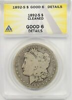1892-S $1 ANACS GOOD 6 DETAILS CLEANED MORGAN SILVER DOLLAR