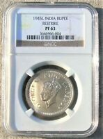 BRITISH INDIA SILVER RUPEE 1945L PROOF RESTRIKE NGC PF63 TOP
