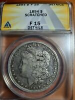 1894-P F 15 BEAUTY  DATE HAS SHINE /DETAILS ANACS $1 MORGAN SILVER DOLLAR