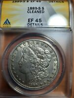 1889-S EXTRA FINE  45 CLEANED ANACS $1 MORGAN SILVER DOLLAR
