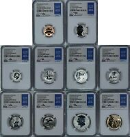 10 COIN 2018 S SILVER REVERSE PROOF SET NGC PF70 FDI FIRST D
