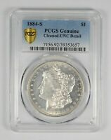 GENUINE 1884-S MORGAN SILVER DOLLAR - CLEANED - UNC DETAIL - GRADED PCGS 9814