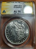 1897-S AU 58 CLEANED. LOOKS LIKE MS. ANACS $1 MORGAN SILVER DOLLAR