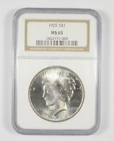 MS65 1925 PEACE SILVER DOLLAR   GRADED NGC  825