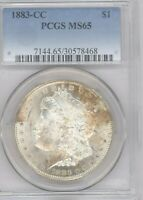 1883 CC MORGAN SILVER DOLLAR  CARSON CITY PCGS MINT STATE 65