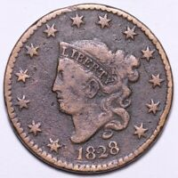 1828 CORONET HEAD LARGE CENT CHOICE VG SHIPS FREE E503 WCN