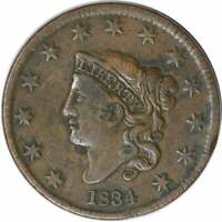 1834 LARGE CENT F UNCERTIFIED