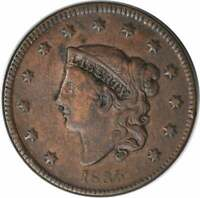 1835 LARGE CENT F UNCERTIFIED
