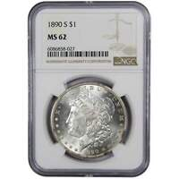 1890 S MORGAN DOLLAR MINT STATE 62 PCGS 90 SILVER $1 US COIN COLLECTIBLE