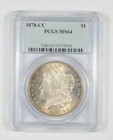 MS64 1878 CC MORGAN SILVER DOLLAR   GRADED PCGS  830