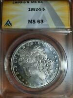 1882-S MINT STATE 63 ANACS QUALITY COIN $1 MORGAN SILVER DOLLAR