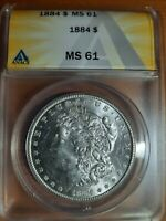 1884-P ANACS MINT STATE 61 UNDER GRADED $1 MORGAN SILVER DOLLAR