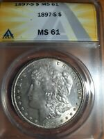 1897-S ANACS MINT STATE 61 QUALITY COIN $1 MORGAN SILVER DOLLAR