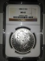 1884 O MORGAN DOLLAR MINT STATE 62 NGC GRADED US SILVER COIN CERTIFIED MINT STATE 62