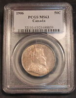 Click now to see the BUY IT NOW Price! 1906 CANADA SILVER 50 CENTS MS 63 PCGS. NICELY TONED. BV $5000