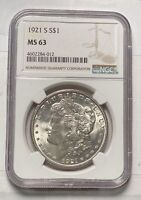 MORGAN SILVER DOLLAR 1921 S NGC MINT STATE 63