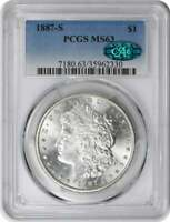 1887-S MORGAN SILVER DOLLAR MINT STATE 63 PCGS CAC