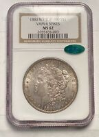MORGAN SILVER DOLLAR 1880 P NGC MINT STATE 62 8/7 CAC VAM-6 SPIKES