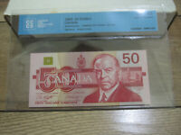 1988 $50 BANK OF CANADA UNC 65 CCCS CERTIFIED. BC 59D. GEM UNCIRCULATED.