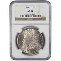1890 CC MORGAN DOLLAR MINT STATE 62 NGC 90 SILVER $1 US COIN COLLECTIBLE