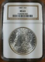 1887-P MORGAN NGC MINT STATE 63 VAM-11 DOUBLED DATE 7 IN DENTICLES