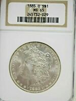 1885-O $1 MORGAN NGC MINT STATE 65 VAM-24 BELLY BUTTON