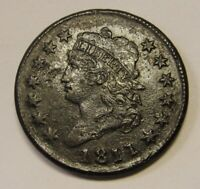 1811 CLASSIC HEAD LARGE CENT GRADING EXTRA FINE  DETAILS SOME POROSITY  EARLY COIN P1