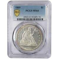 1869 SEATED LIBERTY DOLLAR MINT STATE 61 PCGS 90 SILVER $1 US TYPE COIN COLLECTIBLE