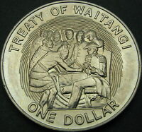NEW ZEALAND 1 DOLLAR 1990   TREATY OF WAITANGI   AUNC   1702