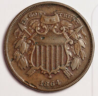 1864 2 CENT PIECE.  SMALL MOTTO.  VF DETAIL.   158556