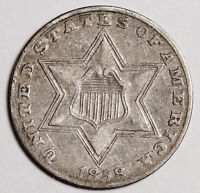 1858 3 CENT SILVER.   NATURAL UNCLEANED  EXTRA FINE .   158598