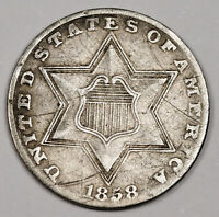 1858 3 CENT SILVER.   EXTRA FINE .   158597