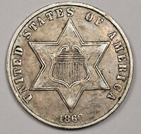 1860 3 CENT SILVER.  NATURAL UNCLEANED  EXTRA FINE .   158605