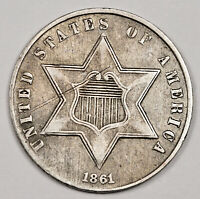 1861 3 CENT SILVER.  NATURAL UNCLEANED.  EXTRA FINE .  158609