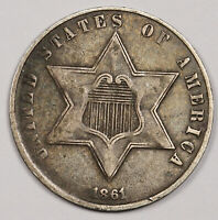 1861 3 CENT SILVER.  NATURAL UNCLEANED  EXTRA FINE .  158613