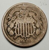 1864 2C LARGE MOTTO BN- GOOD KM 94-FREE USA SHIPPING-TWO CENTS