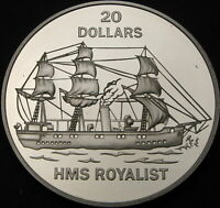 TUVALU 20 DOLLARS 1993 PROOF   SILVER   HMS ROYALIST   2149