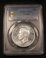 1945/5 CANADA SILVER DOLLAR PCGS MS61 UNCIRCULATED.  5 OVER 5 TYPE.
