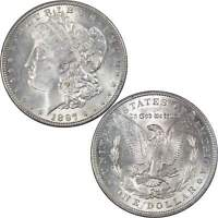 1897 VAM 6A PITTED REVERSE MORGAN DOLLAR AU ABOUT UNCIRCULATED 90 SILVER $1