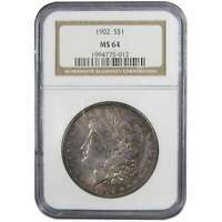 1902 MORGAN DOLLAR MINT STATE 64 NGC 90 SILVER $1 US COIN COLLECTIBLE TONED OBVERSE