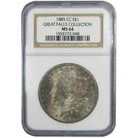 1885 CC MORGAN DOLLAR MINT STATE 64 NGC SILVER $1 GREAT FALLS COLLECTION TONED OBVERSE