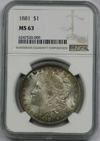 1881 $1 NGC MINT STATE 63 MULTI COLOR TONE MORGAN SILVER DOLLAR