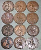 GREAT BRITAIN PENNY LOT OF 12 COINS   KING GEORGE V   INCLUD