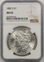 1882-S $1 NGC MINT STATE 63 MORGAN SILVER DOLLAR