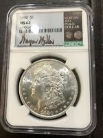 1880 P MORGAN DOLLAR SIGNED BY WAYNE MILLER NGC MINT STATE 62 007