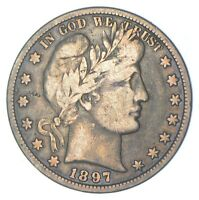 BETTER 1897   US BARBER 90  SILVER HALF DOLLAR COIN COLLECTI