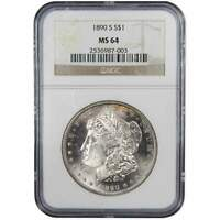 1890 S MORGAN DOLLAR MINT STATE 64 NGC 90 SILVER $1 US COIN COLLECTIBLE